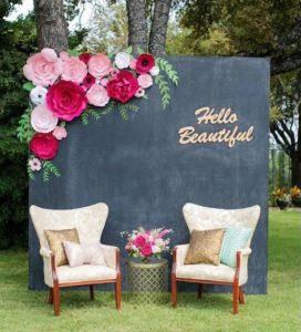 esküvői kreatív fotóhátterek - kerti krétatábla