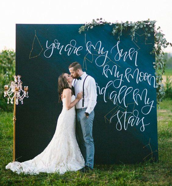 esküvői kreatív fotóhátterek - kerti krétatábla 2