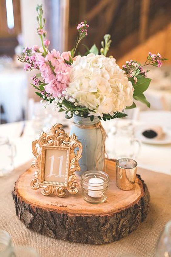 esküvői stílus - rusztikus asztal dísz
