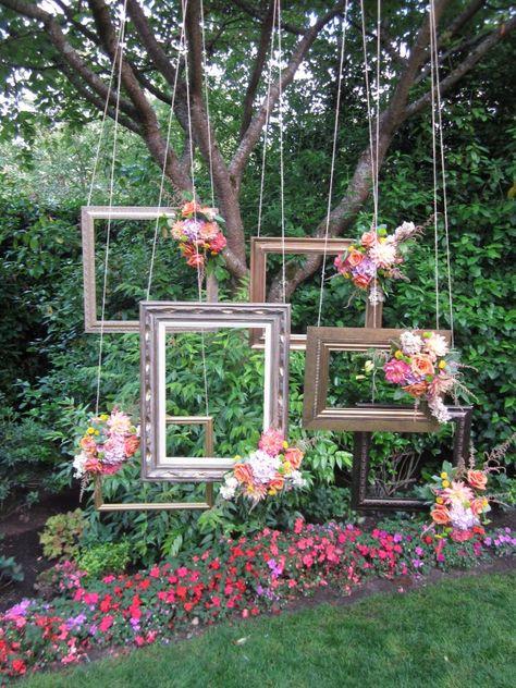 esküvői kreatív fotóhátterek - kerti képkeretek