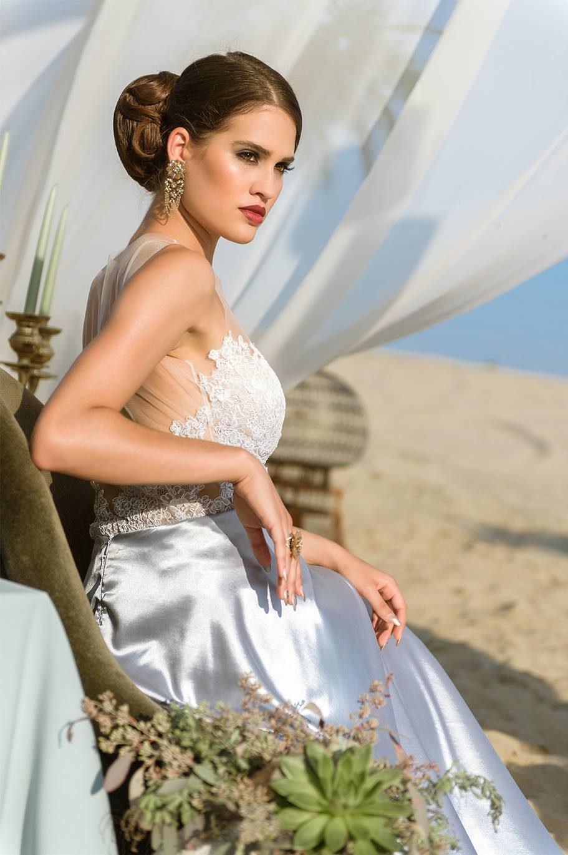 Nagy Ágota - Oázis menyasszonyi ruha - szatén oldalról