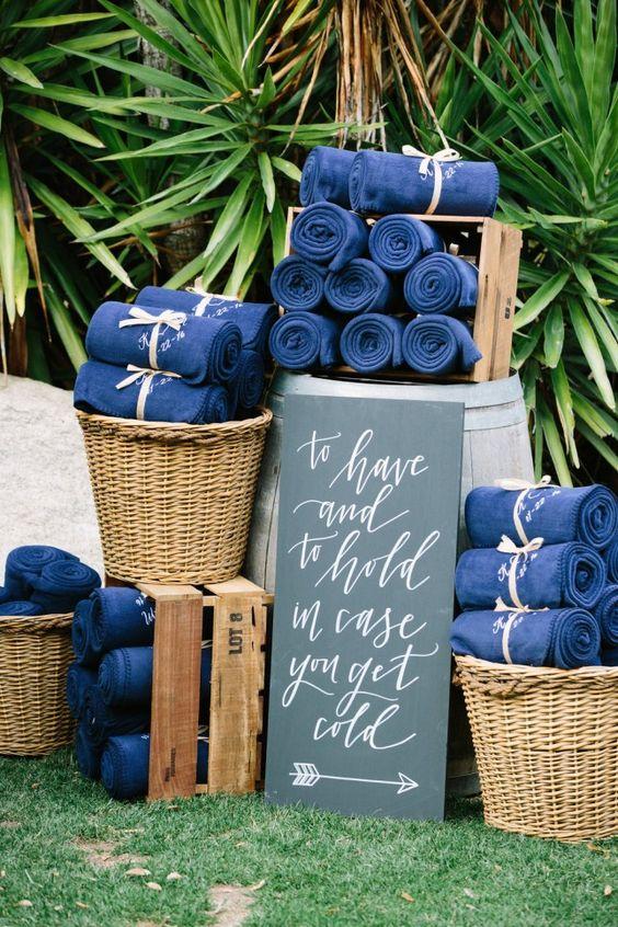 őszi esküvői pokróc kék