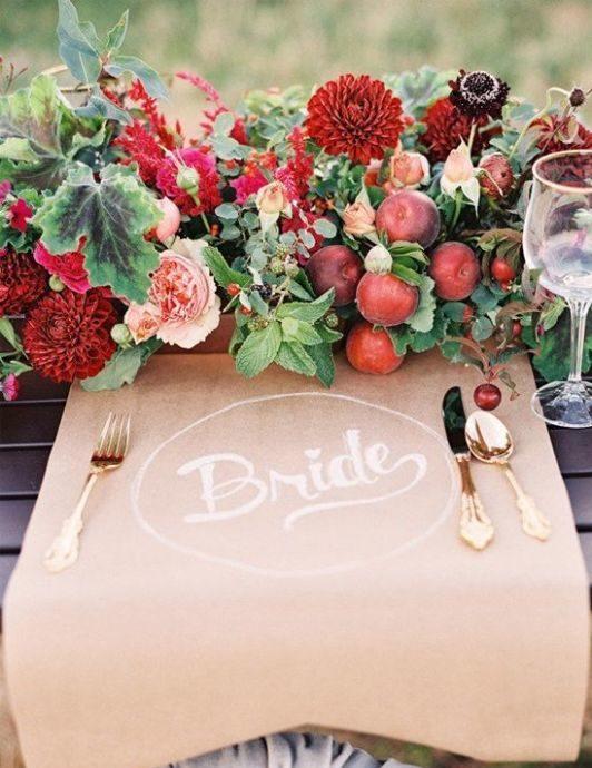 őszi esküvő asztali virág