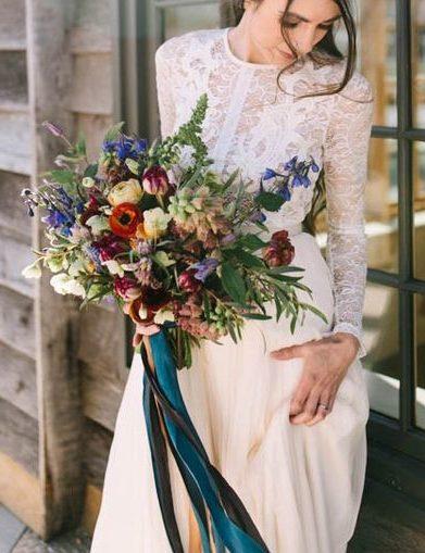 őszi menyasszonyi csokor kék