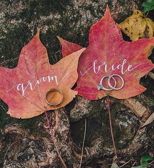 őszi egyedi esküvői dekoráció levelek