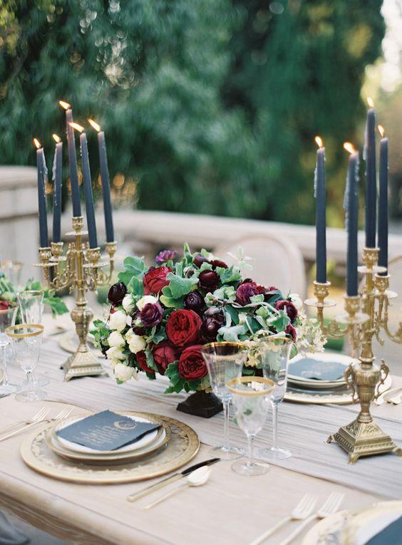 őszi esküvő asztali dekoráció