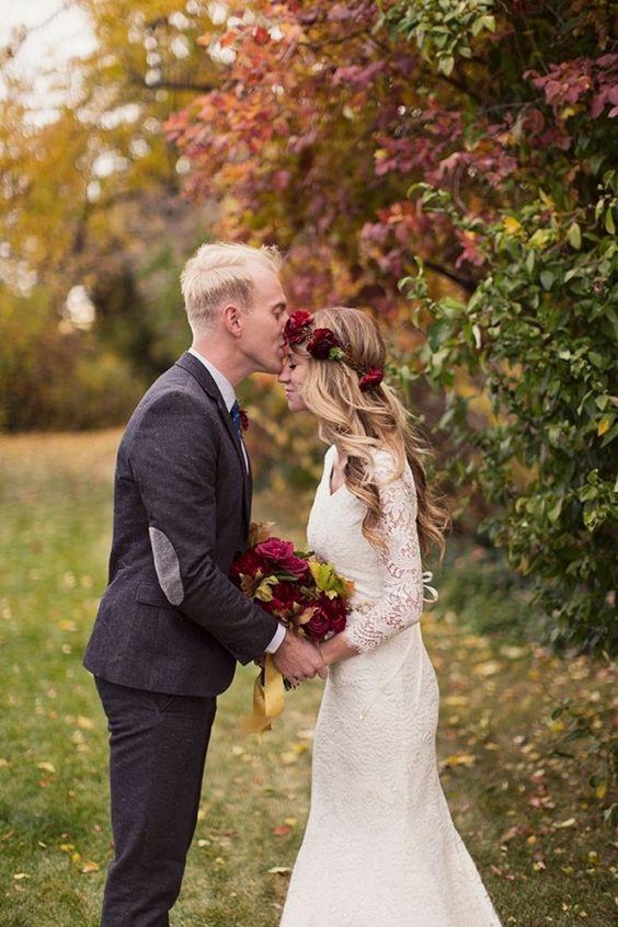 őszi esküvői párfotó