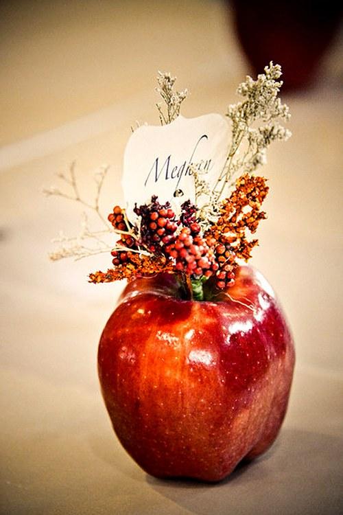 őszi esküvői dekoráció ültető kártya