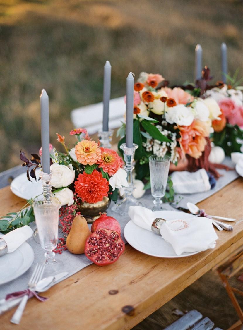 őszi esküvői dekoráció asztal