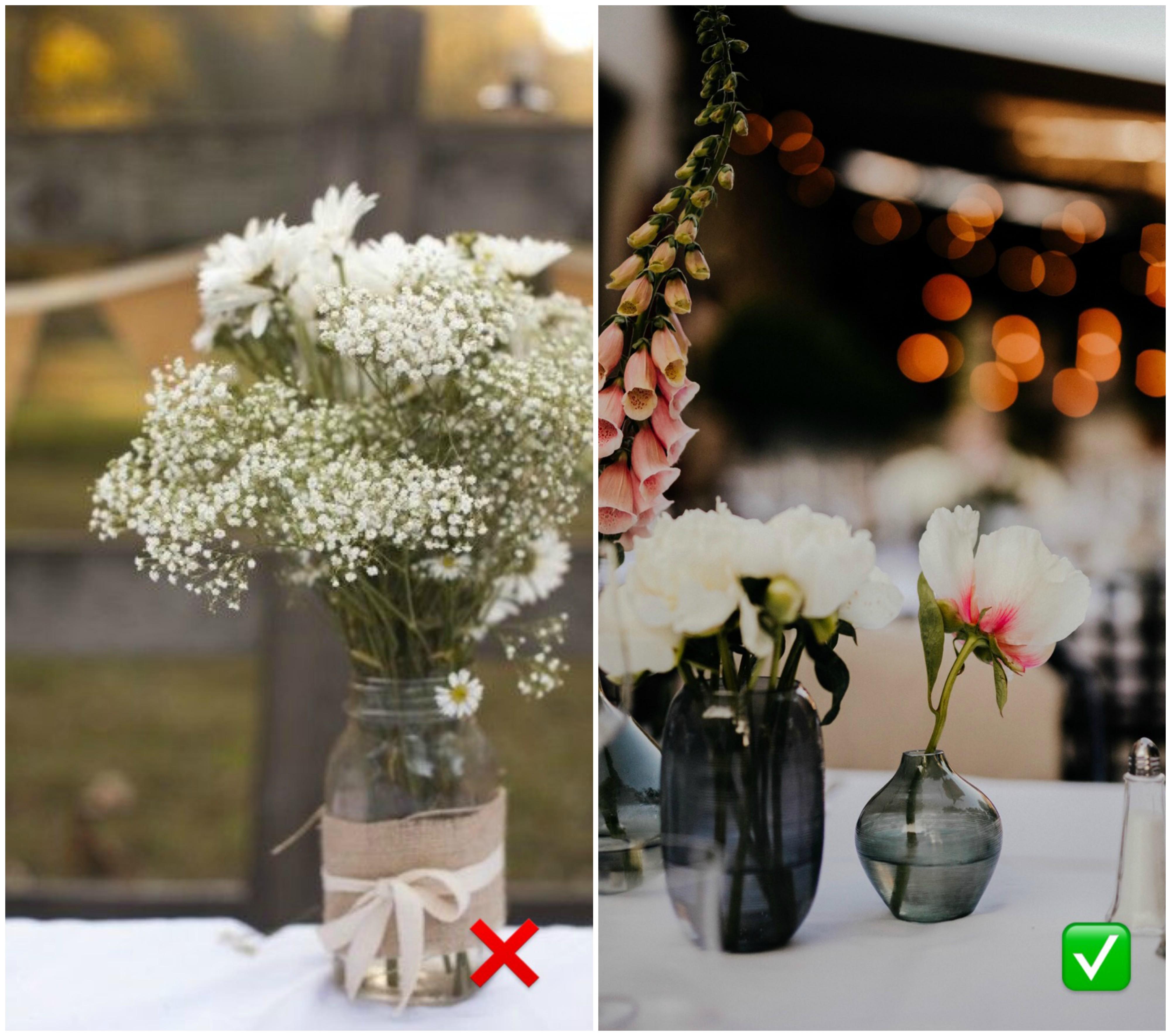 c58f19192f Persze olcsó opció, de sokkal elegánsabbá tehetjük az esküvőnket kisebb,  szolidabb vázákkal. Ráadásul ezeket később is felhasználhatjátok otthonotok  ...